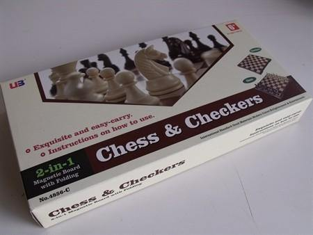 Magnetic Chess/checkers 12in Folding Board