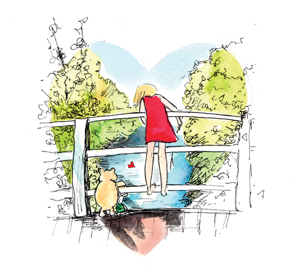Pooh Sticks Heart211 - Greeting Card
