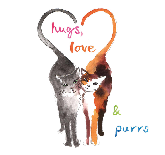 """Hugs, love and purrs"" #Heart774 - Greeting Card"