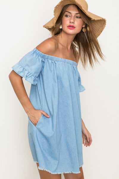 Ruffle Off Shoulder Denim Dress
