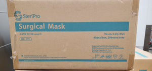 Case of ASTM Level 3 - Tie Backs - (20 boxes of 50 masks) 1,000 Masks