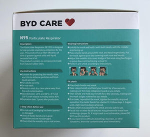 BYD N95 NIOSH Mask - Folding Style - Health Canada Approved - Box of 20