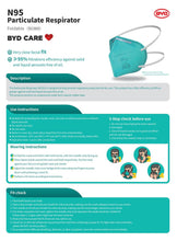 Load image into Gallery viewer, BYD N95 NIOSH Mask - Folding Style - Health Canada Approved - Box of 20