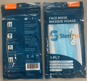 Retail Pack of 4x 3-Ply Face Masks - Type IIR - BFE: 98%+