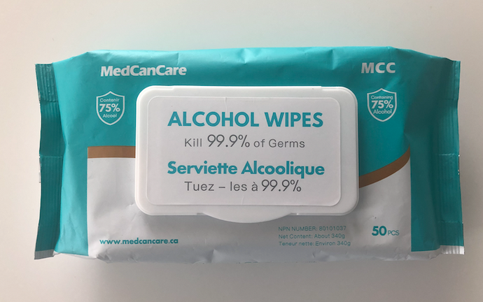 Pack of Anti-Bacterial Alcohol Wipes - 75% Alcohol - Pack of 50 Wipes