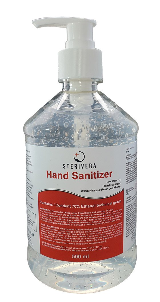 SteriVera Hand Sanitizer - 70% Ethyl-Alcohol Hand Sanitizer - 500ml bottle