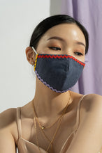 Load image into Gallery viewer, BEIGE & NAVY INES EARLOOP CLOTH MASK SET