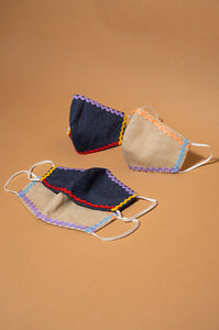 BEIGE & NAVY INES EARLOOP CLOTH MASK SET