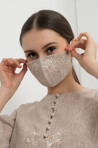 BEIGE FIORENT EARLOOP CLOTH MASK