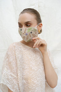 BEIGE LILLE EARLOOP CLOTH MASK