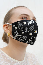 Load image into Gallery viewer, BLACK LILLE EARLOOP CLOTH MASK
