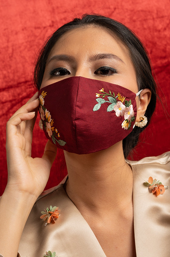RED EDELIE EARLOOP CLOTH MASK