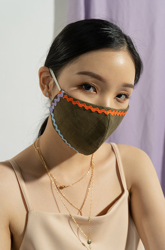 GREEN & WHITE INES EARLOOP CLOTH MASK SET