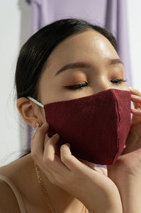 MAROON JUDY EARLOOP CLOTH MASK SET