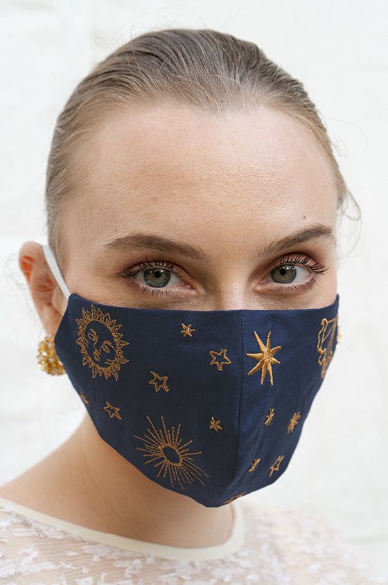 NAVY CELESTE EARLOOP CLOTH MASK