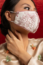Load image into Gallery viewer, RED EMBROIDERED ANAIS EARLOOP CLOTH MASK