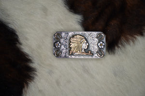 "2.5"" x 1.25"" Trophy Buckle w/ 14K Gold Indian Headdress"