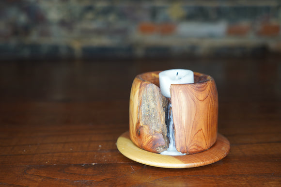 Medium Cedar Candle Holder