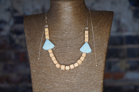 Stone & Cube Wood Bead Necklace