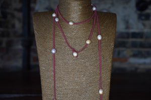 Red Leather Fresh Water Pearl Choker