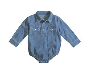 Baby Boy Long Sleeve Denim Bodysuit
