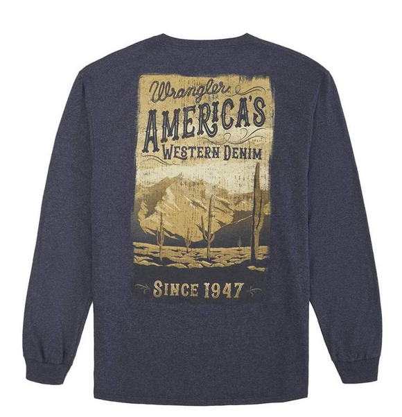 Men's Wrangler Denim Heather Desert Scene Long Sleeve Tee
