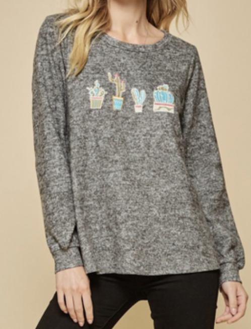Loose Fit Cactus Embroidered Sweater
