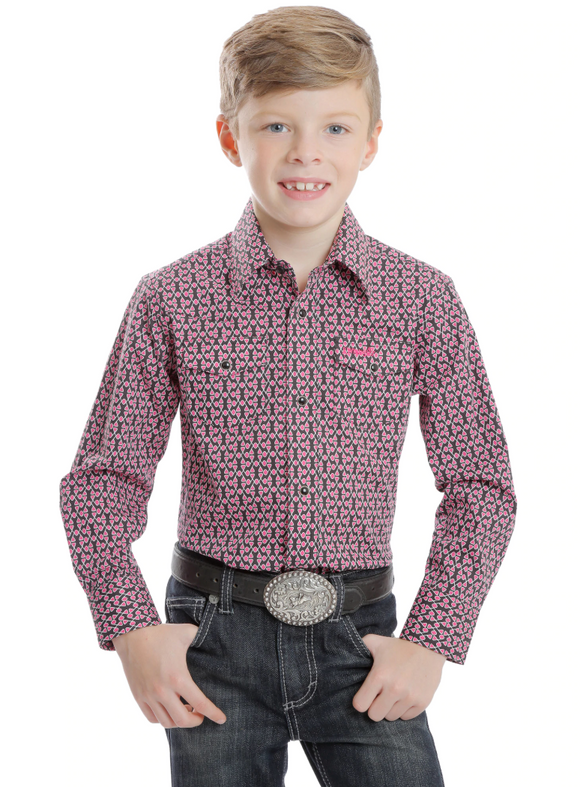 Boy's Tough Enough To Wear Pink Button Down