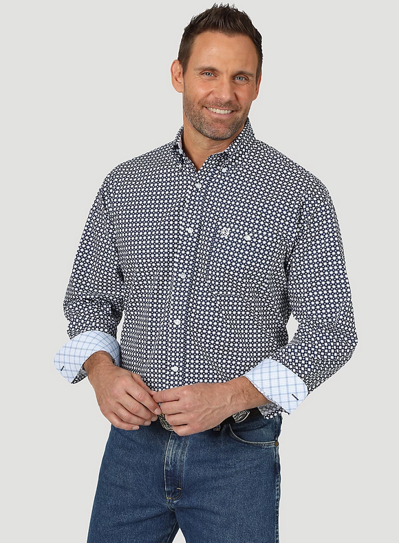 Men's George Straight Long Sleeve Button Down One Pocket Printed Shirt