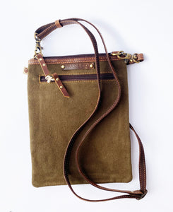 Olive Green Crossbody Satchel- Upcycled Genuine Leather