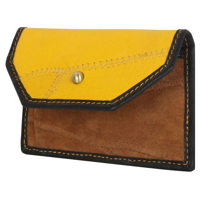 Bold Yellow Pocket Wallet - Upcycled Genuine Leather