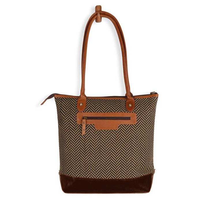Chevron Tote - Upcycled Genuine Leather