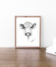 Load image into Gallery viewer, Cow Sketch - Original Art Print