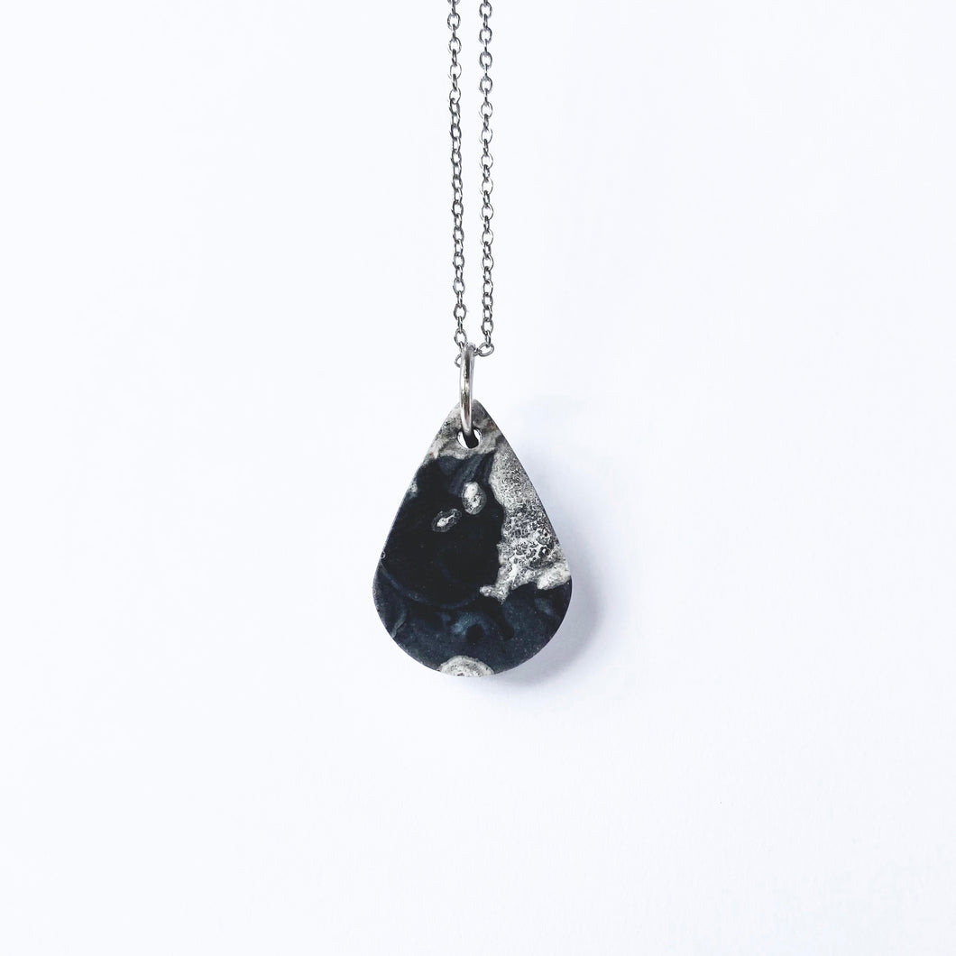 One-of-a-Kind - Marbled Black Teardrop Pendant