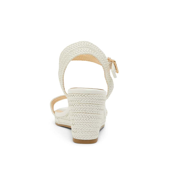 Adena Heel in White Weave Smooth