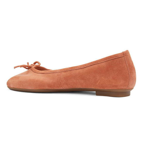 Alexa Flat in Orange Suede