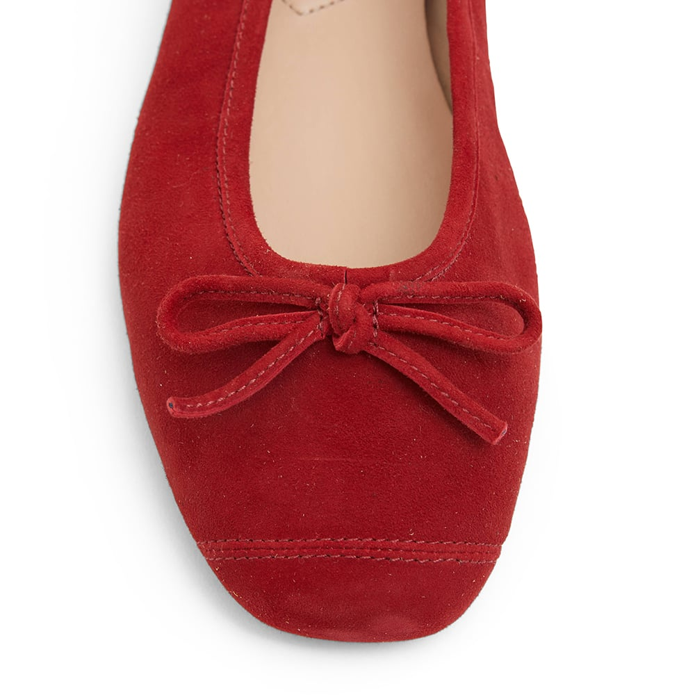 Alexa Flat in Ruby Red Suede