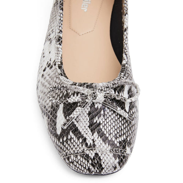 Alexa Flat in Taupe Snake Leather
