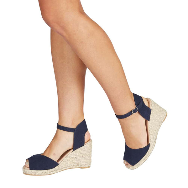 Aloha Espadrille in Navy Fabric
