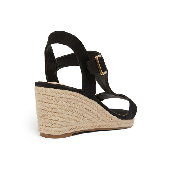 Anchor Espadrille in Black Fabric