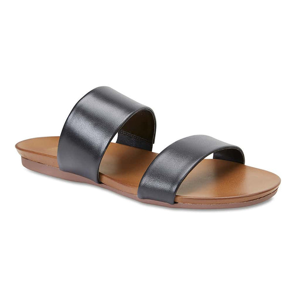 Aruba Slide in Black Leather