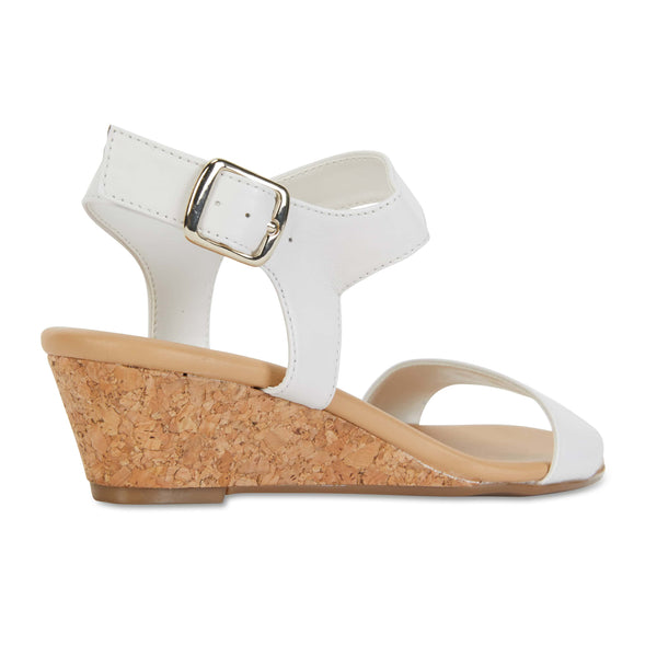 Cable Heel in White Leather