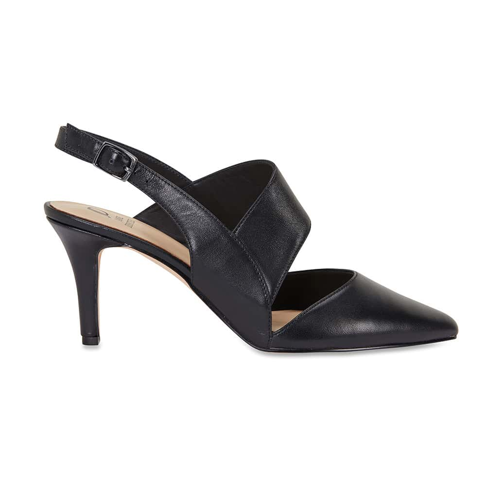 Callista Heel in Black Leather