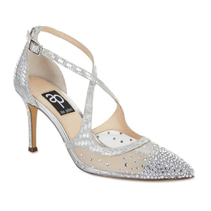 Candid Heel in Silver Glitter Satin