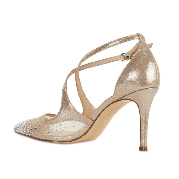 Candid Heel in Taupe Satin
