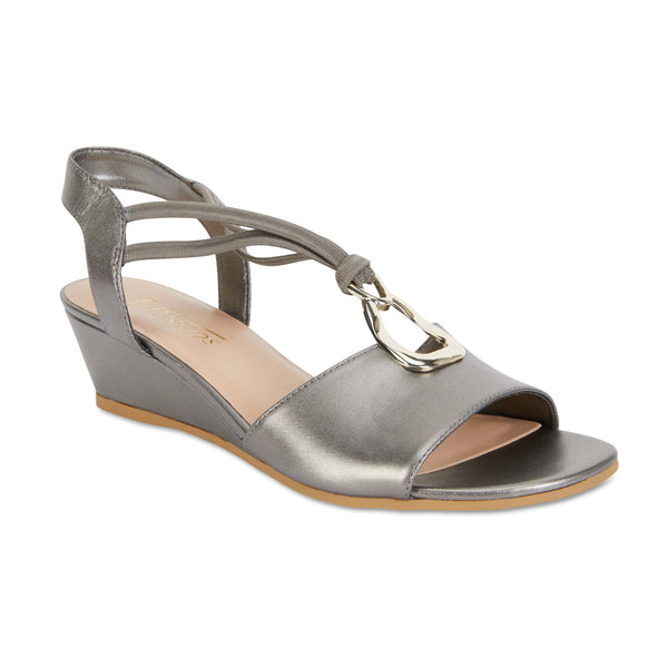 Carey Heel in Pewter Leather