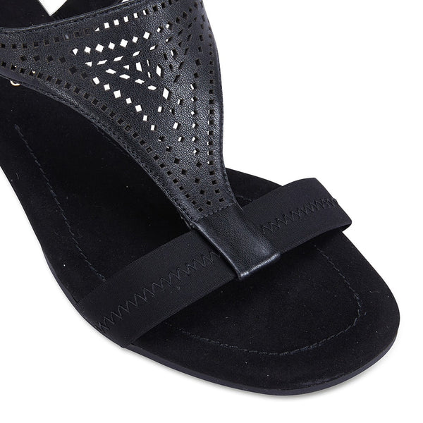 Casino Heel in Black Leather