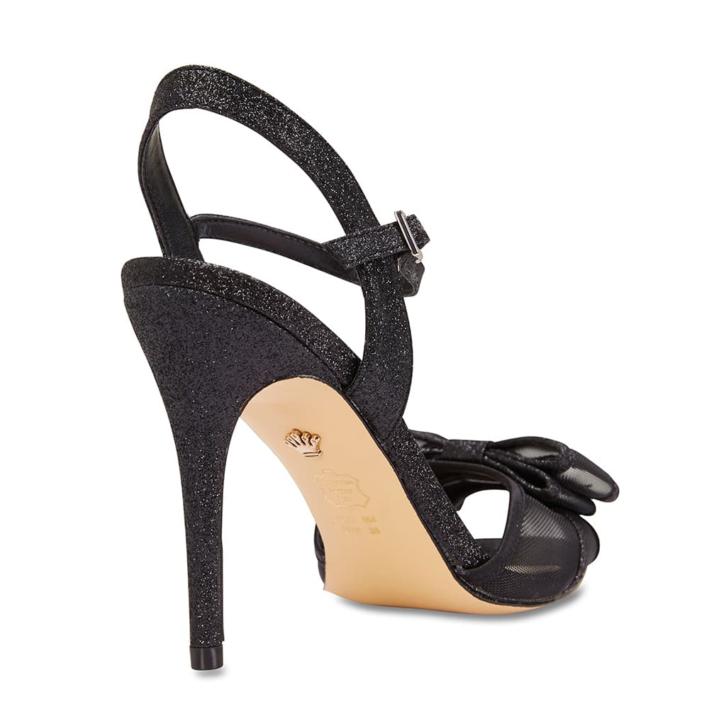 Charm Heel in Black Fabric