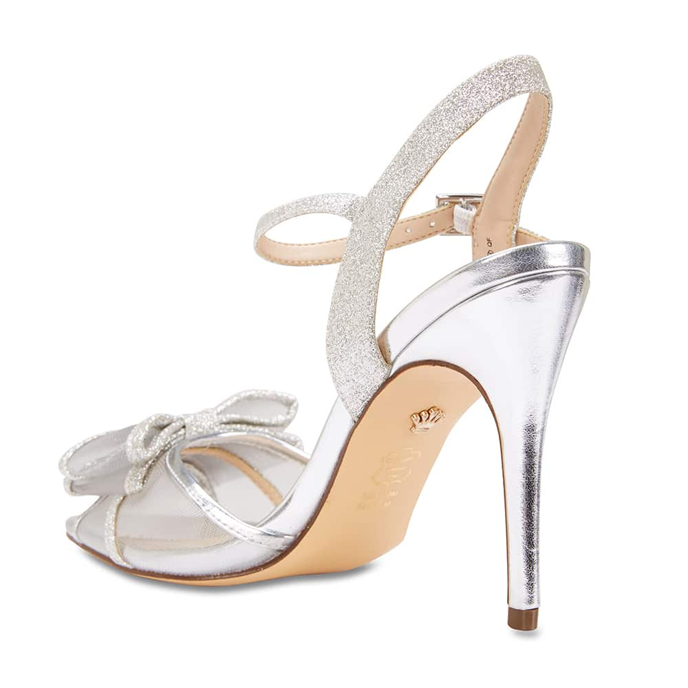 Charm Heel in White Fabric