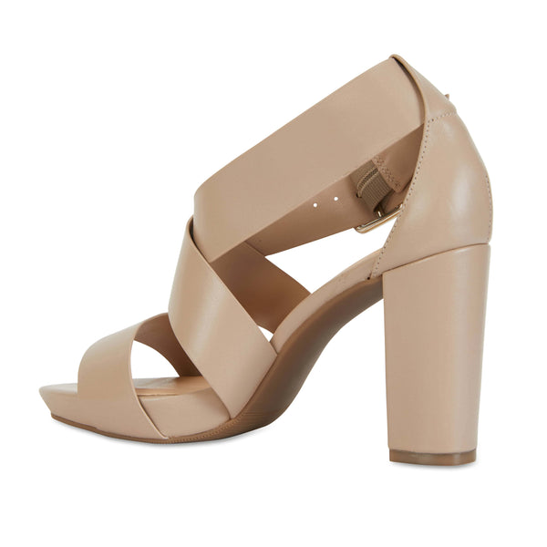 Congo Heel in Nude Leather